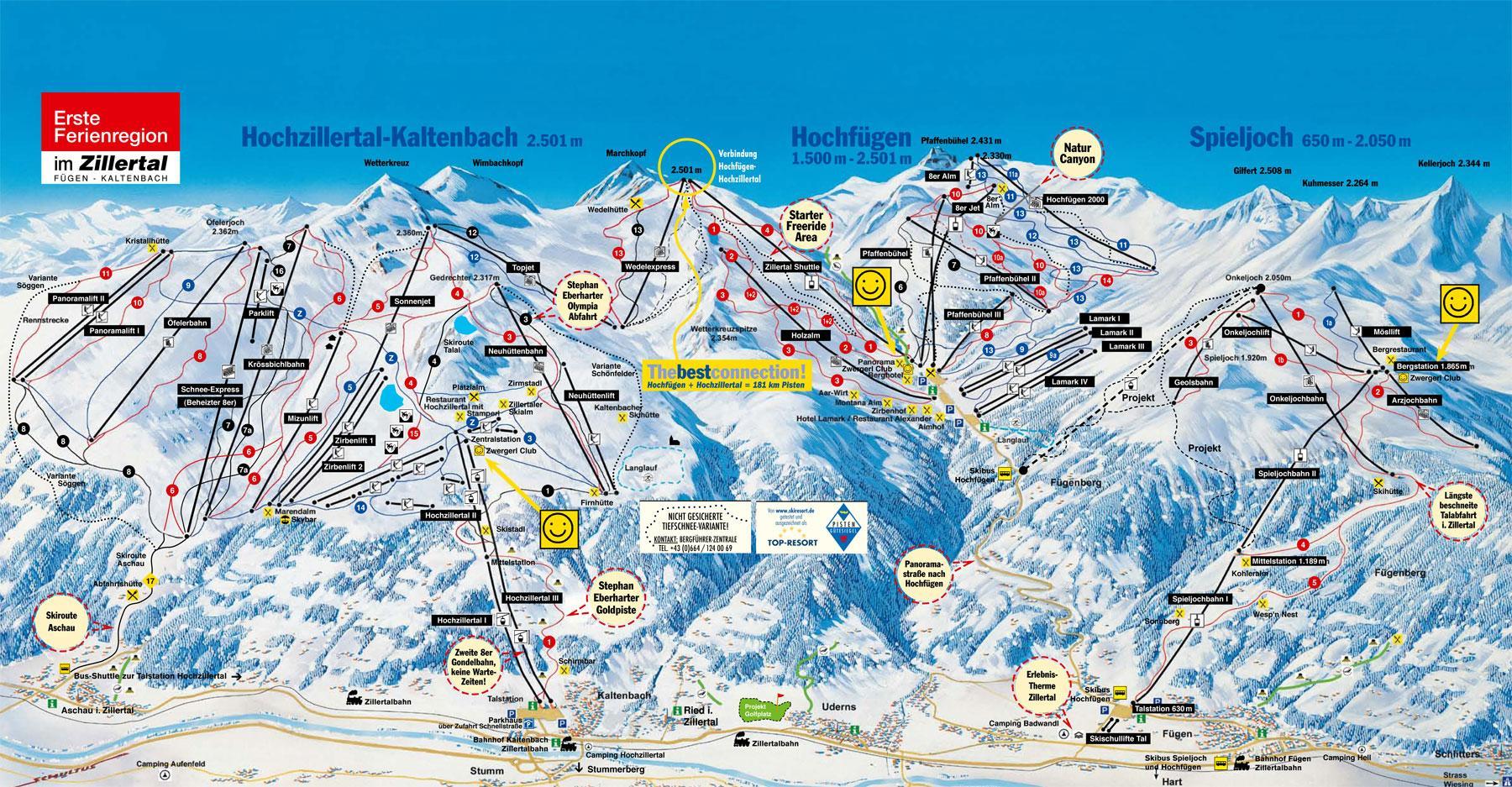 Hochzillertal Hochf 252 Gen Piste Map J2ski
