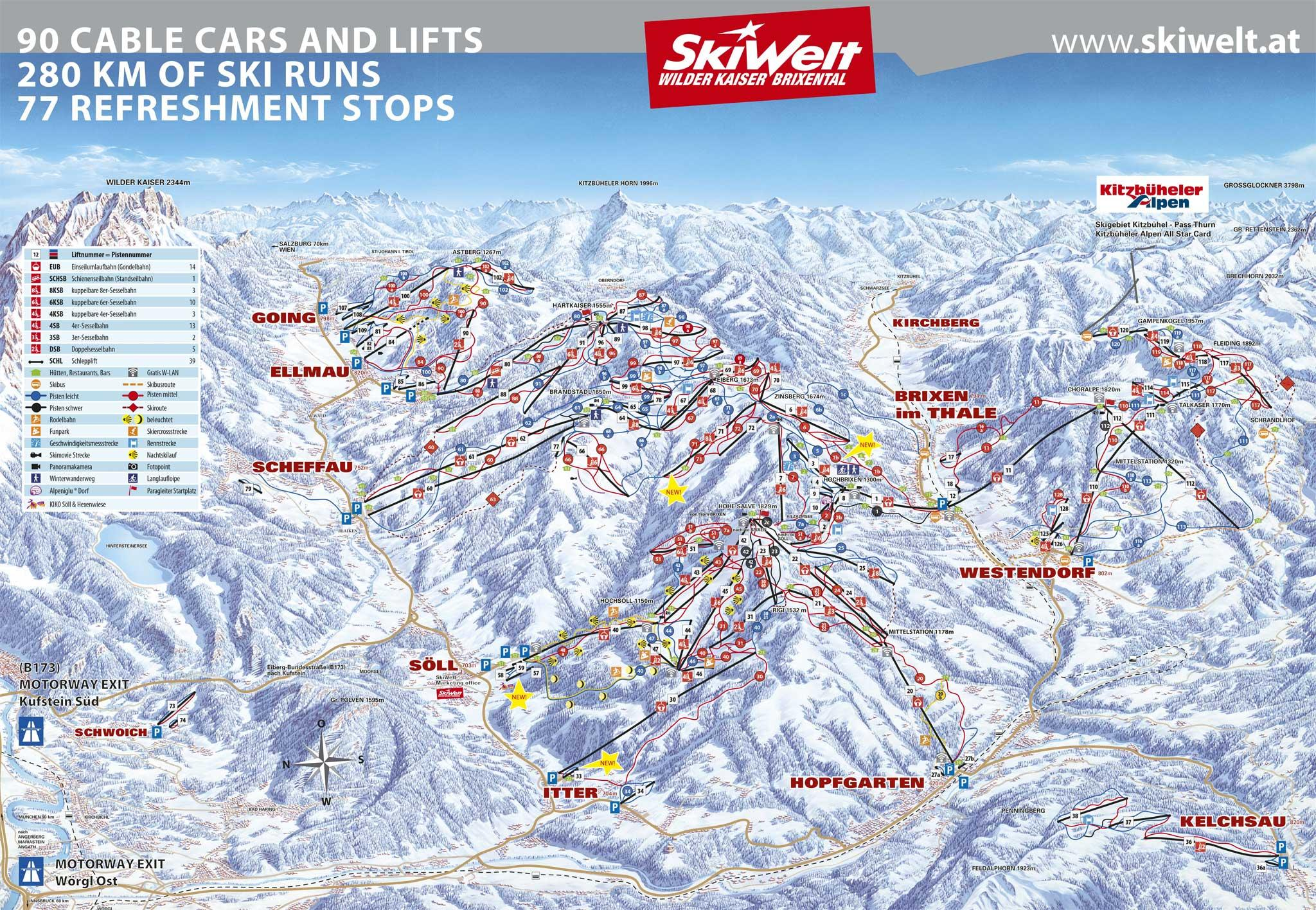 Itter Muhtal Piste Map HiRes Trail Map for Itter Muhtal J2Ski