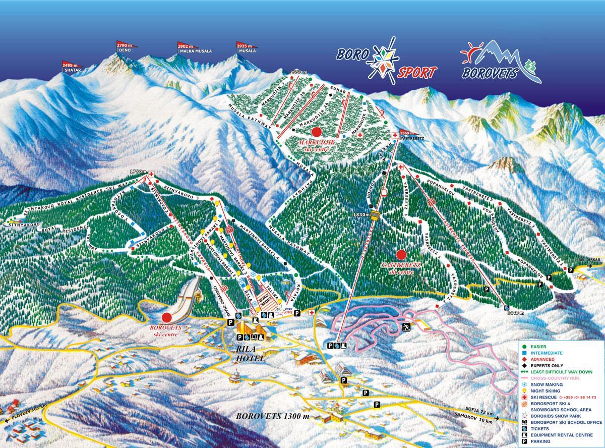 Borovets Ski Map Borovets Piste Map | J2Ski Borovets Ski Map