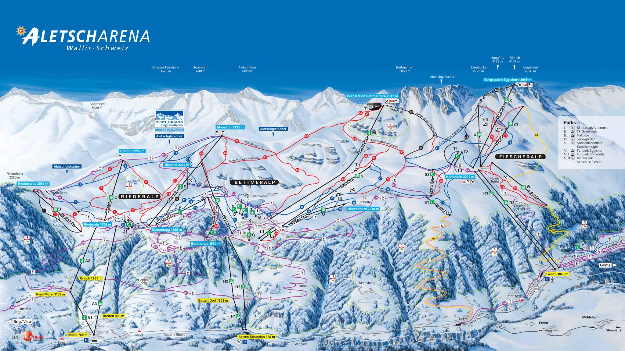 Bettmeralp Piste Map J2Ski