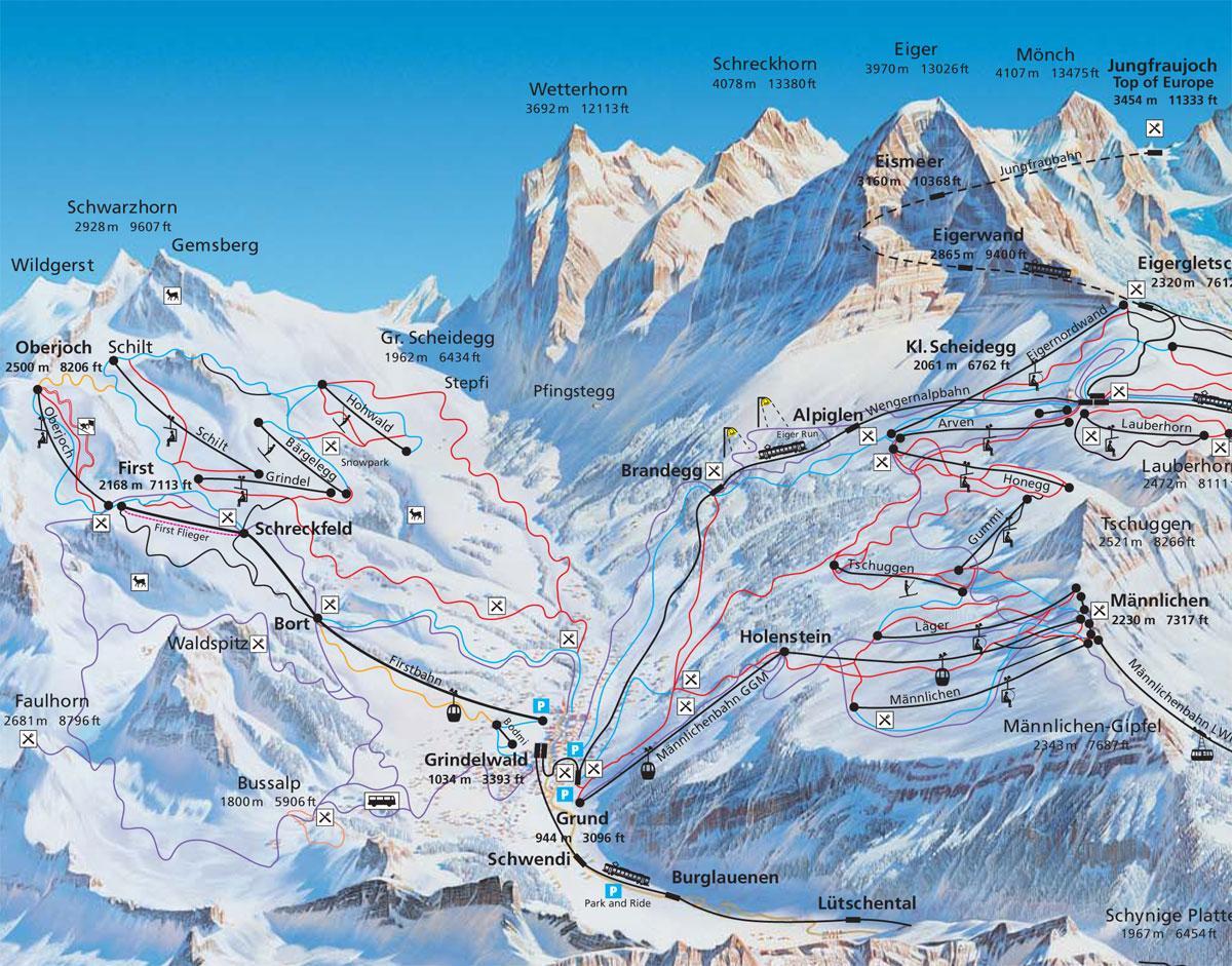 Grindelwald Piste Map J2Ski