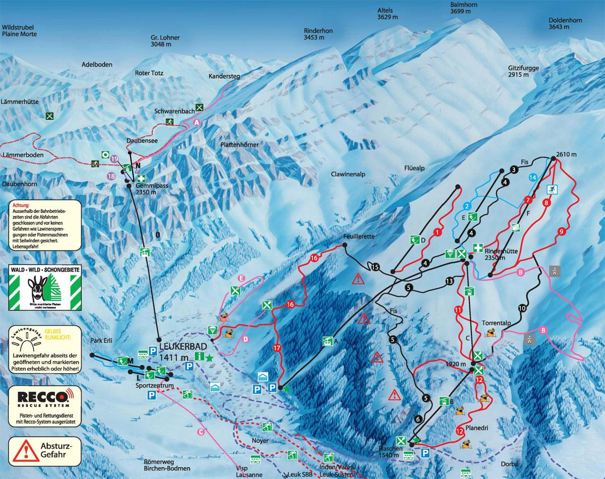 Leukerbad Piste Map J2Ski