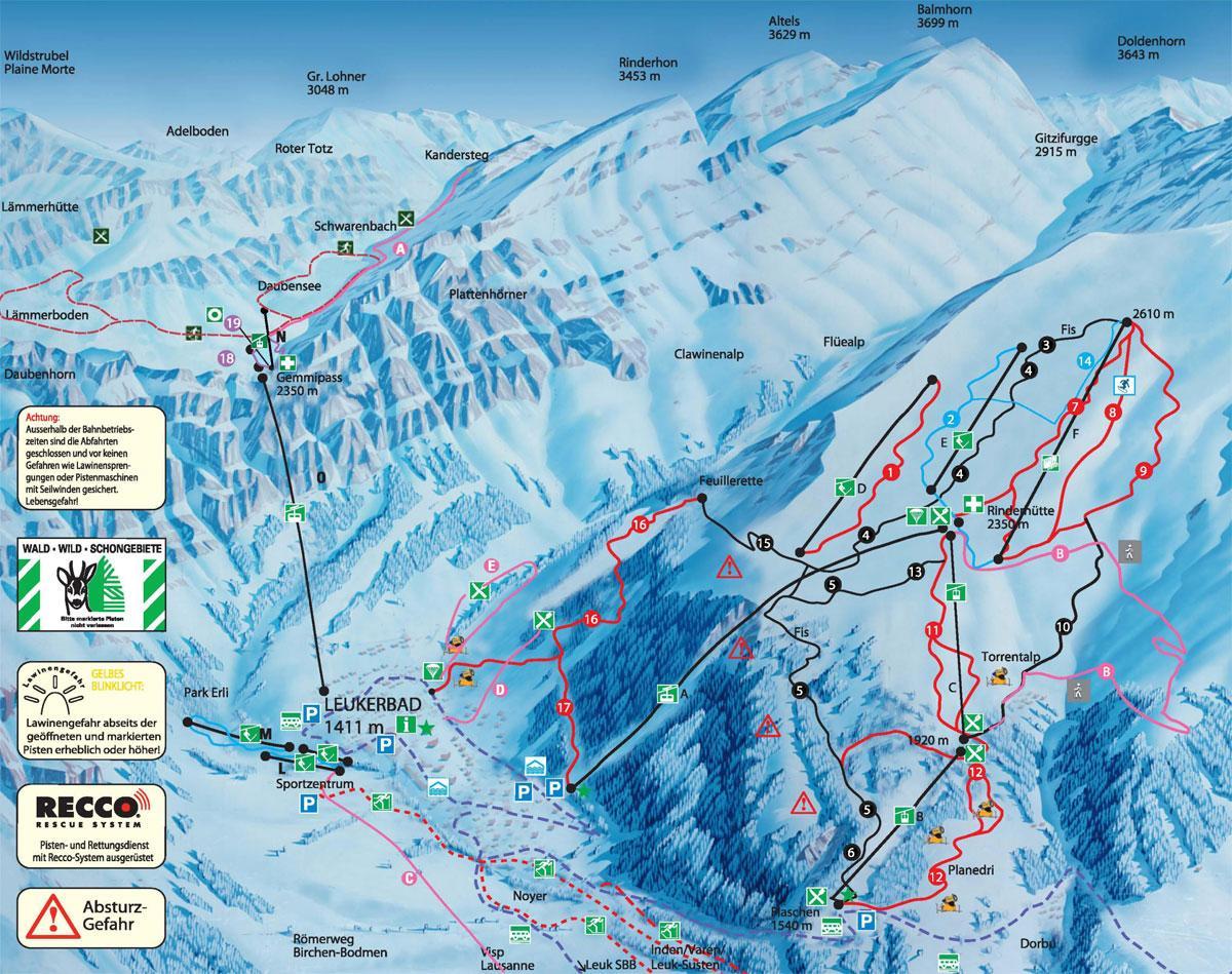 Leukerbad Switzerland  city images : Leukerbad Piste Map Hi Res Trail Map for Leukerbad J2Ski