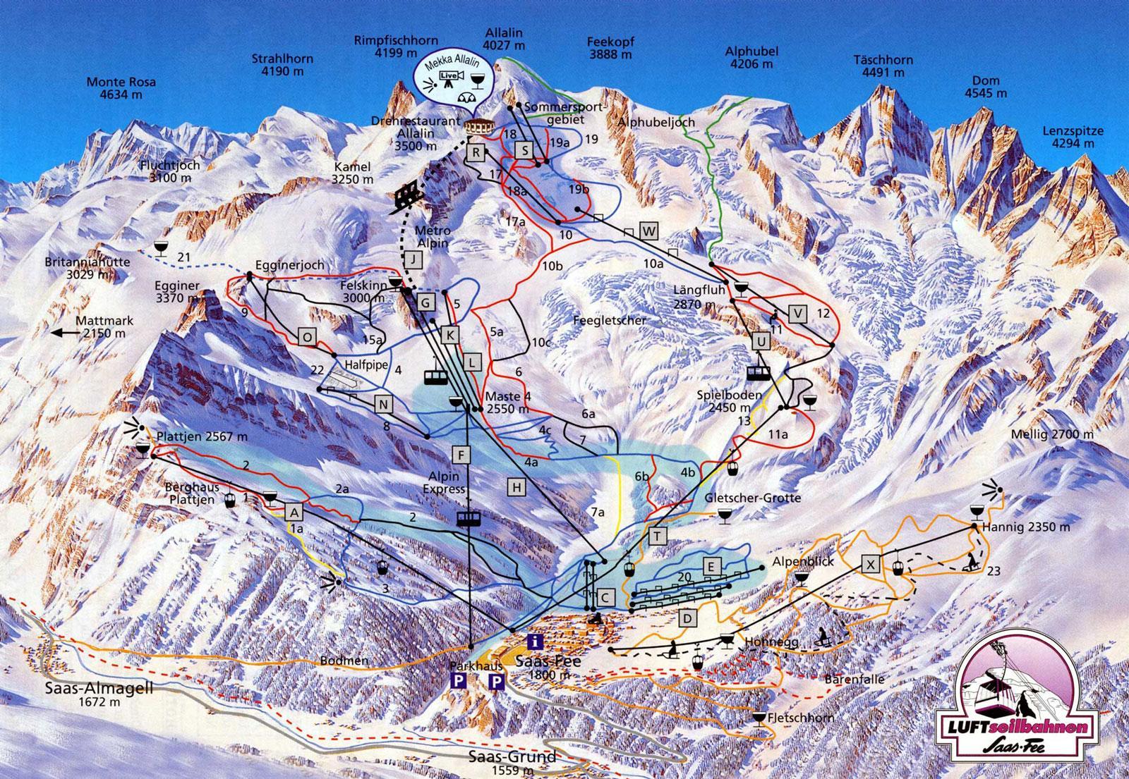 SaasFee Piste Map J2Ski