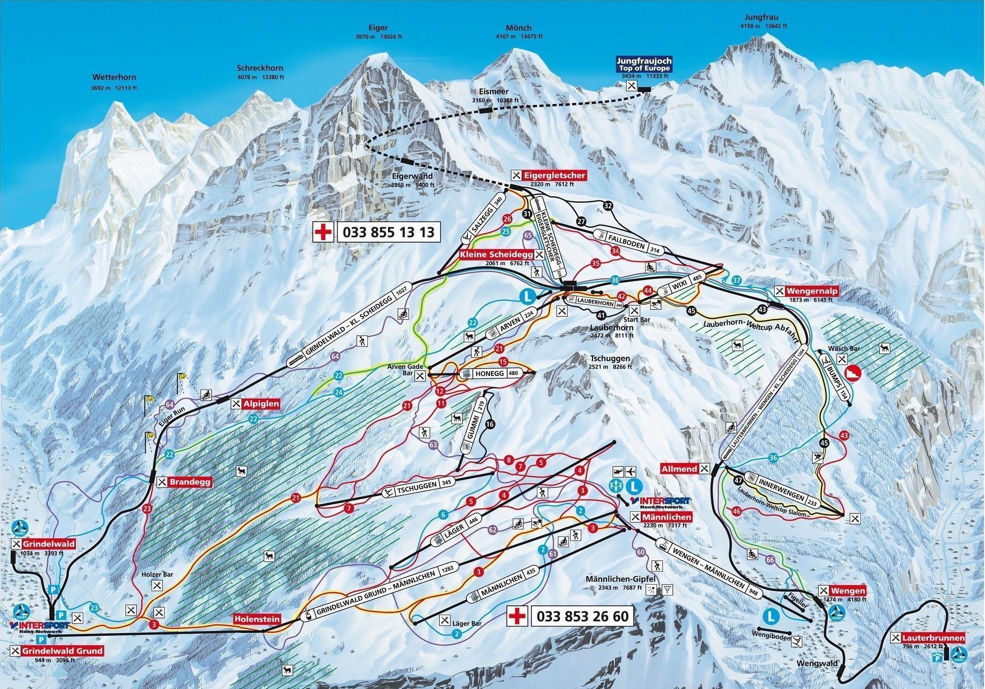 Wengen Piste Map J2Ski