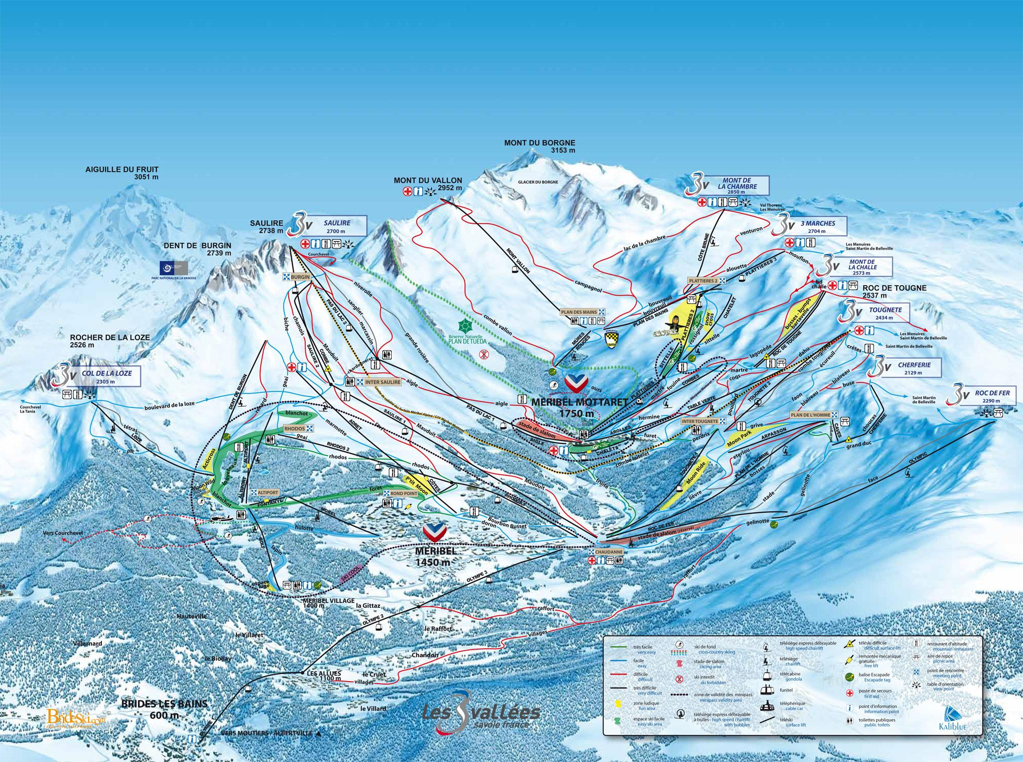 Meribel Ski Map Méribel Mottaret Piste Map | J2Ski Meribel Ski Map