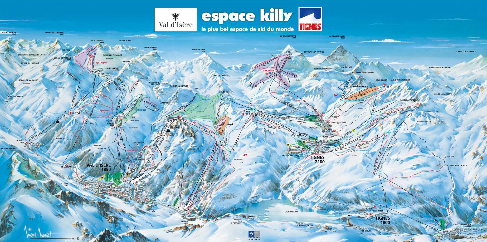 Espace Killy Piste Map J2Ski