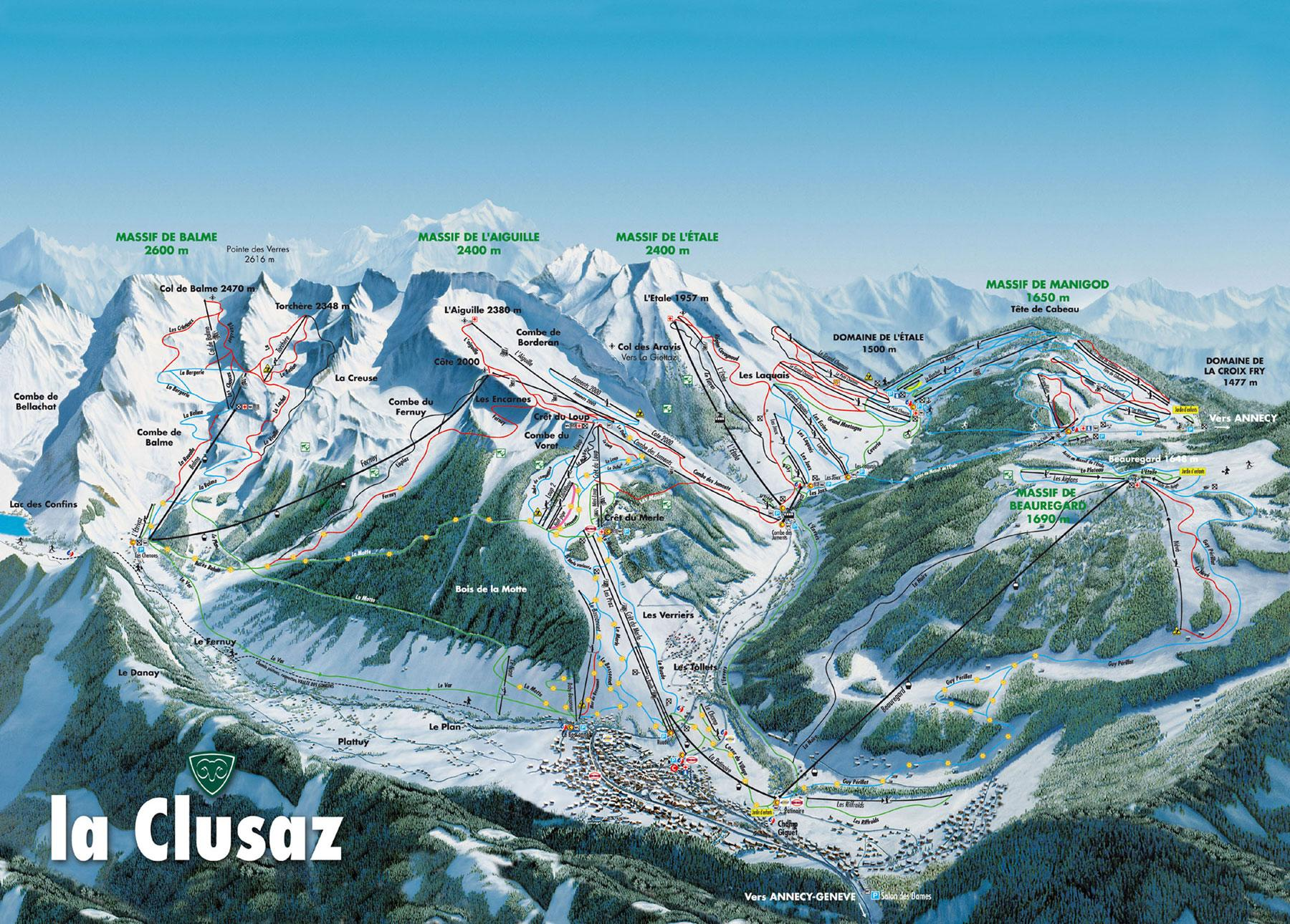 La Clusaz France  city images : La Clusaz Piste Map Hi Res Trail Map for La Clusaz J2Ski