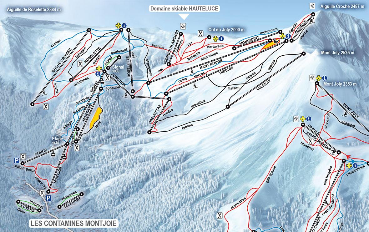 Les Contamines Piste Map J2Ski