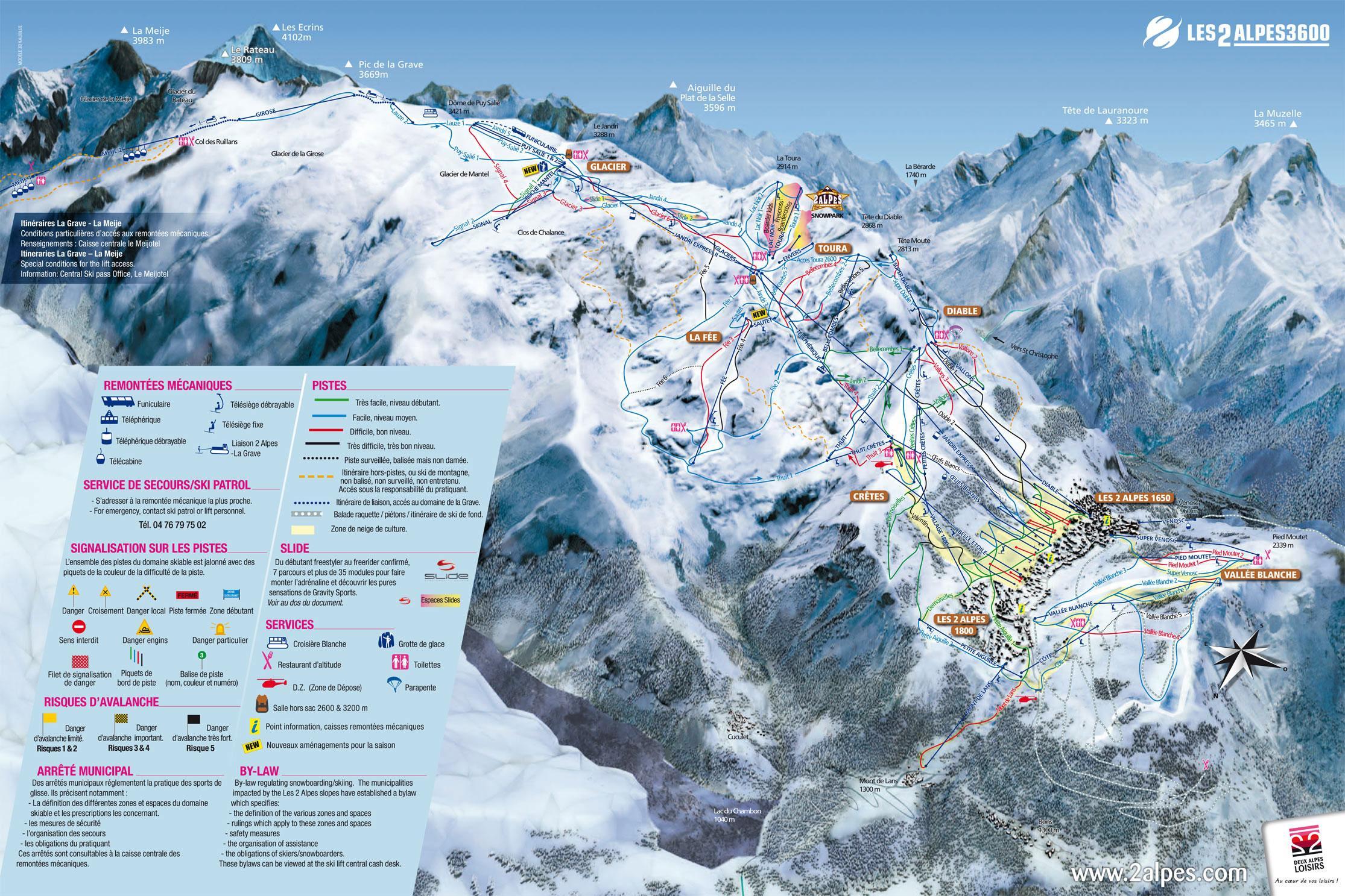 Les Deux Alpes Piste Map J2Ski
