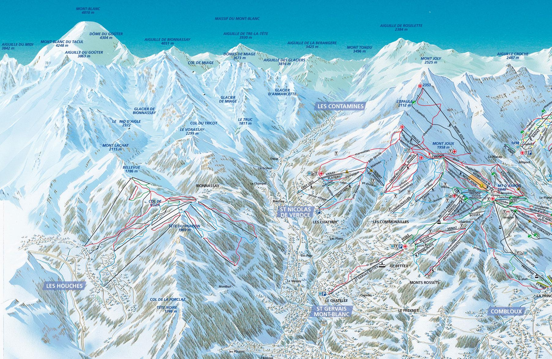 les houches piste map | j2ski