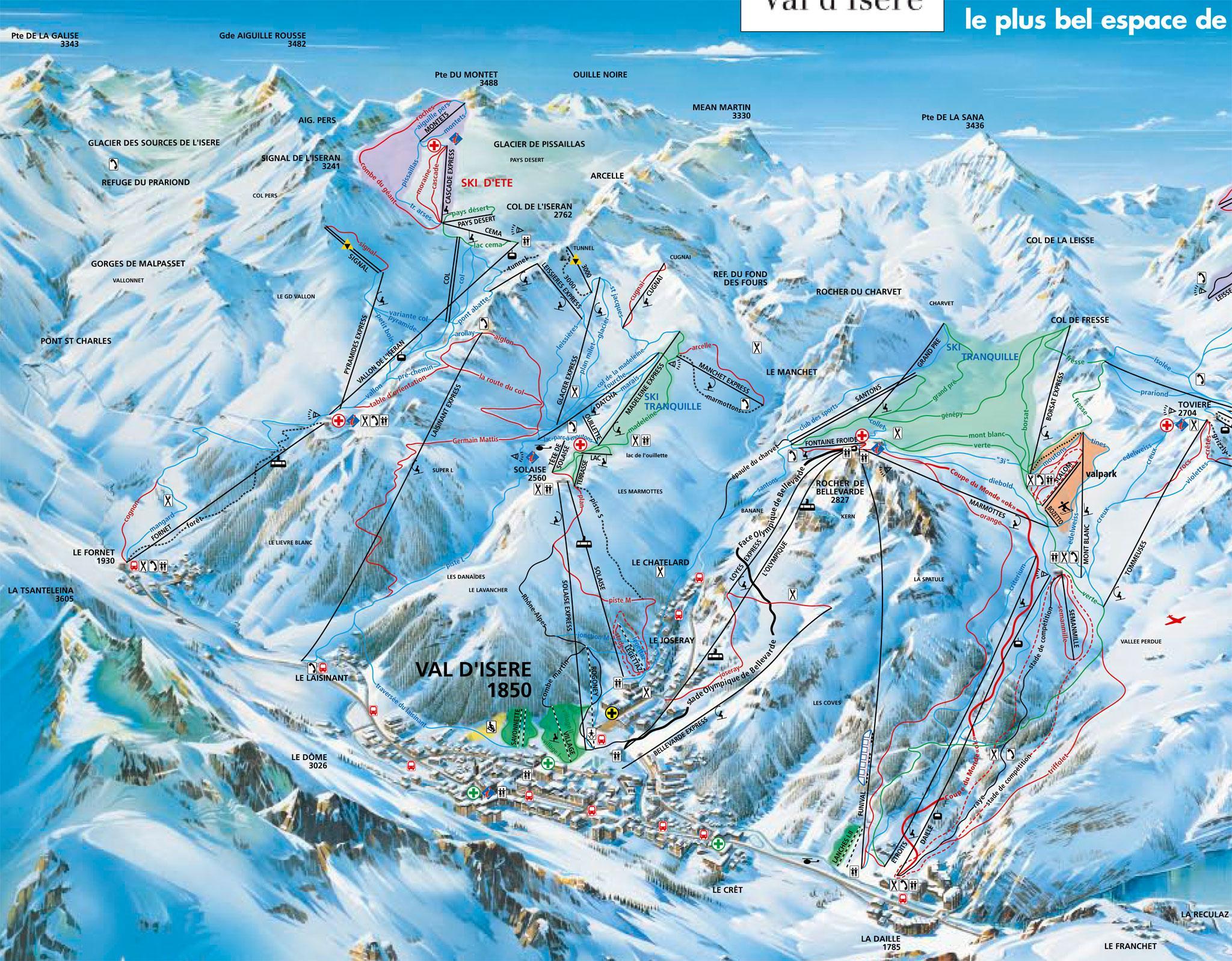 Val D Isere Ski Map Val d'Isère Piste Map | J2Ski Val D Isere Ski Map