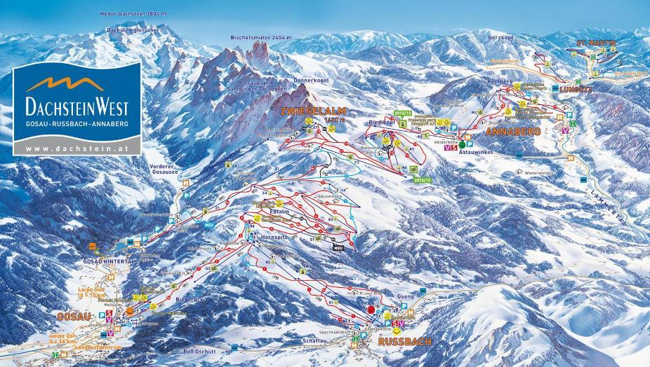 Dachstein West Piste Map