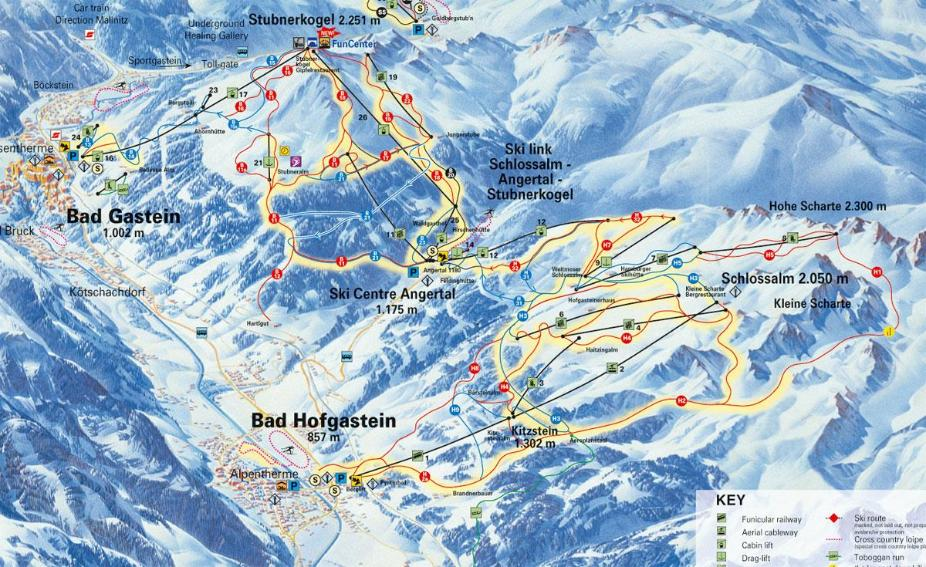 Bad Hofgastein Piste Map