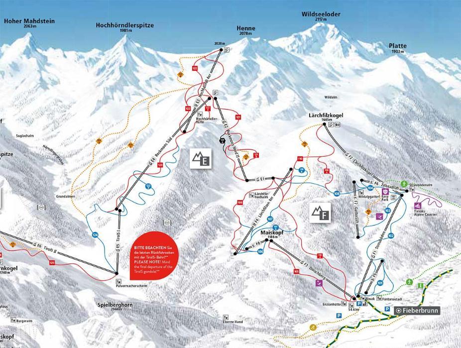 Fieberbrunn Piste Map