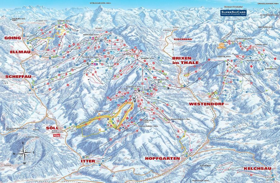 Hopfgarten im Brixental Piste Map