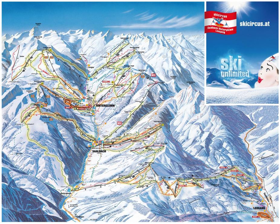 Saalbach Hinterglemm Piste Map