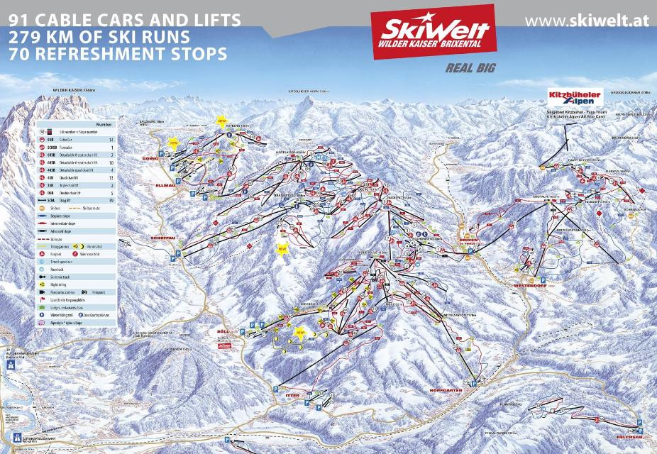 Scheffau am Wilden Kaiser Piste Map