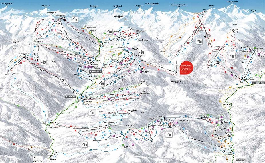 Skicircus Saalbach Hinterglemm Leogang Fieberbrunn Trail Map