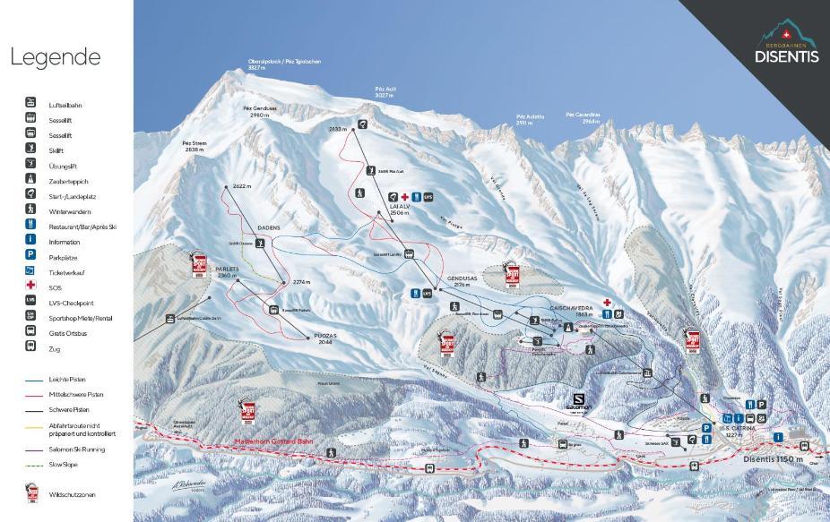 Disentis Sedrun Piste Map