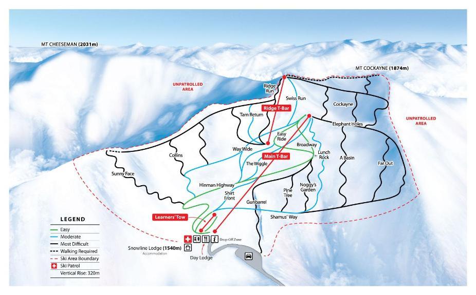 Mount Cheeseman Piste Map