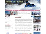 Home page screenshot of Bella Ski Italia